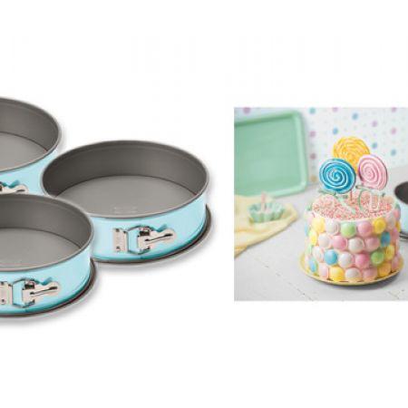 Set Of Pastel Blue Springform Pan In Different Sizes 3 Pcs