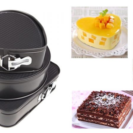 Set Of Non Stick Springform Pan In Different Shapes 3 Pcs