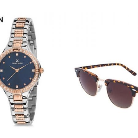 Daniel Klein DK11764-7 Stainless Steel Rose Gold & Silver Premium Lady Watch With Daniel Klein DK3129C3 Brown Animal Print Polarized Premium Clubmaster Shaded Fade Sunglasses For Women