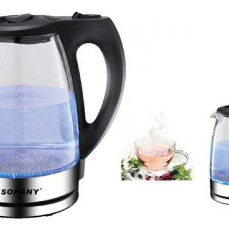 Sokany Cordless Electric Glass Kettle 1.7 L 2000 W