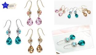 Swarovski Elements Gold Plated Water Drop Earrings For Women - Champagne