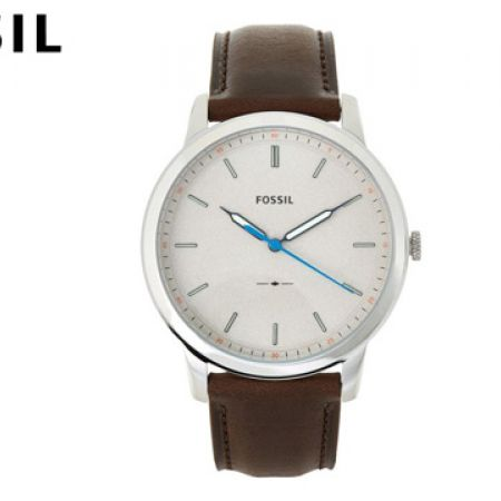 Fossil Minimalist Cream Dial Brown Leather Round Watch For Men