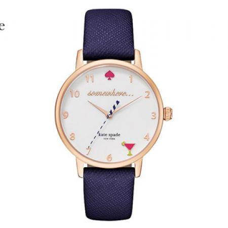 Kate Spade Metro 5 O'Clock White Dial Navy Leather Round Watch For Women
