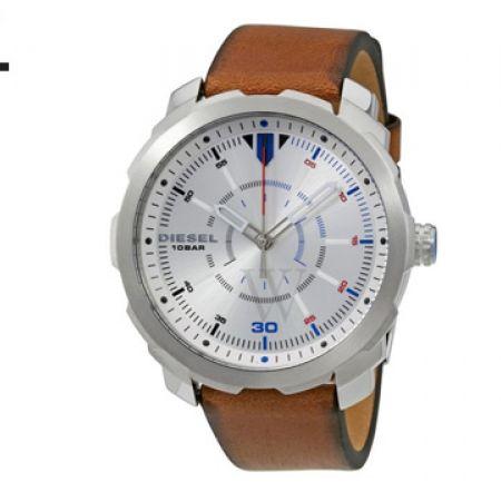 Diesel Machinus Silver Dial Leather Round Watch For Men
