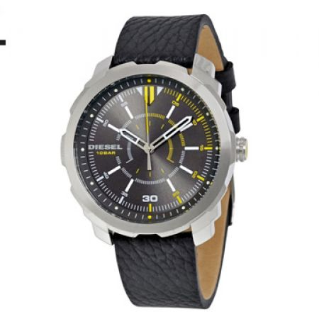 Diesel Machinus Gray Dial Black Leather Round Watch For Men