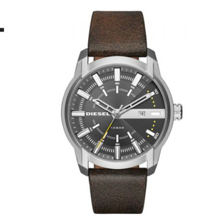 Diesel Armbar Grey Dial Leather Watch For Men