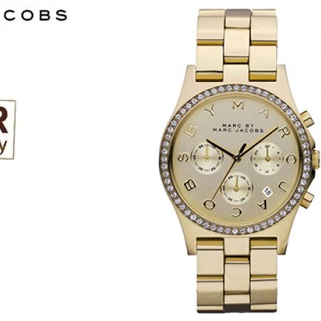 Marc Jacobs Henry Chronograph Champagne Dial Gold-plated Round Watch For Women