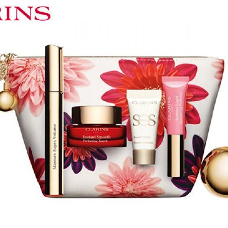 Clarins Make Up Heroes Gift Set, Instant Smooth Perfecting Touch Primer 15ml + Supra Volume Black Mascara 8ml , Sos Primer 00 5ml, Instant Light Natural Lip Perfector 01 Rose Shimmer 5ml With Pouch