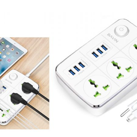 Bavin White 3-Outlet Surge Protector Power Strip with USB Charging 6 Ports 5.4A/27W, 5Ft Heavy Duty Extension Cord