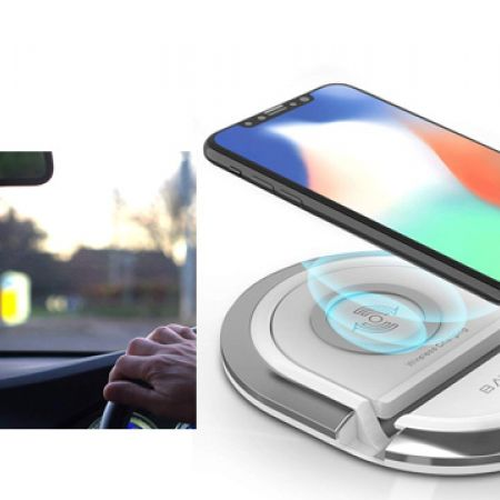 Bavin Black & Grey QI Wireless Charging Stand Compatible With All QI Enables Phones