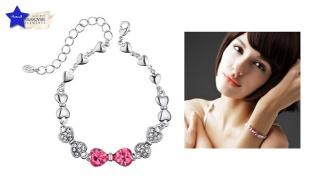 Swarovski Elements Pink Ribbon Bracelet For Women