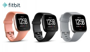 Fitbit Versa NFC Special Edition Wireless Activity & Fitness Watch - Black Aluminium Case Black Band