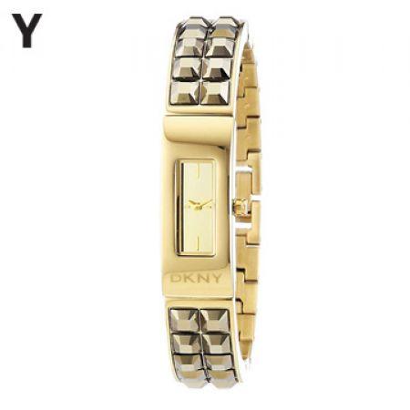DKNY Beekman Champagne Dial Gold-tone Rectangular Watch For Women