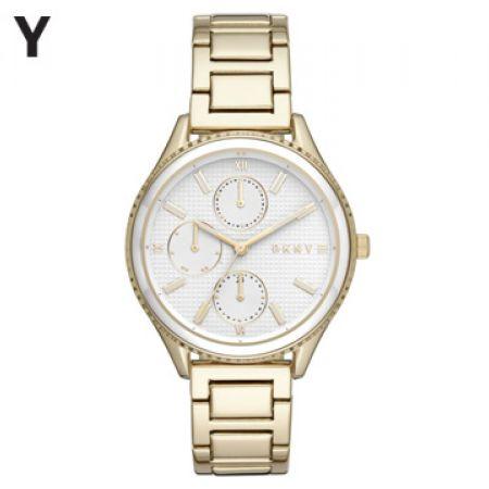 DKNY Woodhaven Gold Tone Stainless Steel Round Watch For Women