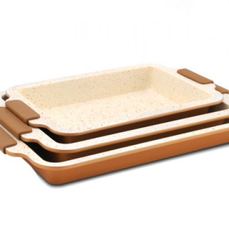 Royalty Line Set Of Brown Marble Ceramic Coated Roasting Pan In Different Sizes 3 Pcs