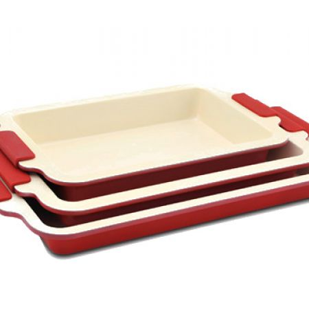 Royalty Line Set Of Red Ceramic Coated Roasting Pan In Different Sizes 3 Pcs