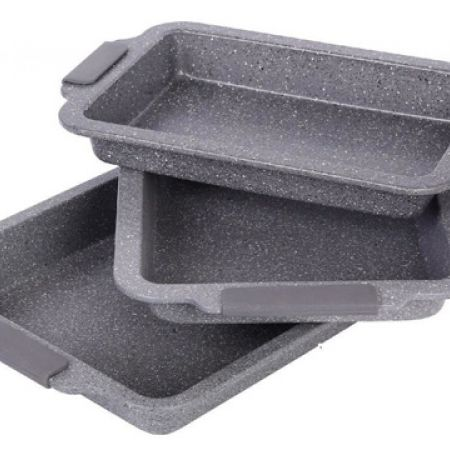 Royalty Line Set Of Grey Granit Roasting Pan In Different Sizes 3 Pcs