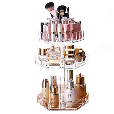 360 Rotating 3-Tier Cosmetic Frame Display 37 x 25 cm