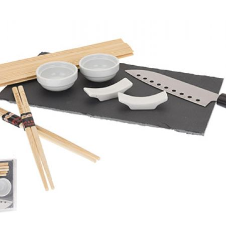 Sushi Set For Two 9 Pcs With Slate Tray