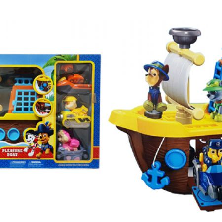 Paw Patrol Pleasure Boat & 3 Cars With Puppies