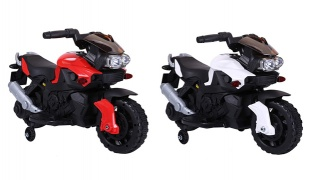 Electric Powered Motorcycle Bike Toy with Training Wheels - Red