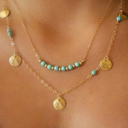 Gold Plated Turquoise Choker Personality Infinity Beads Necklace For Women