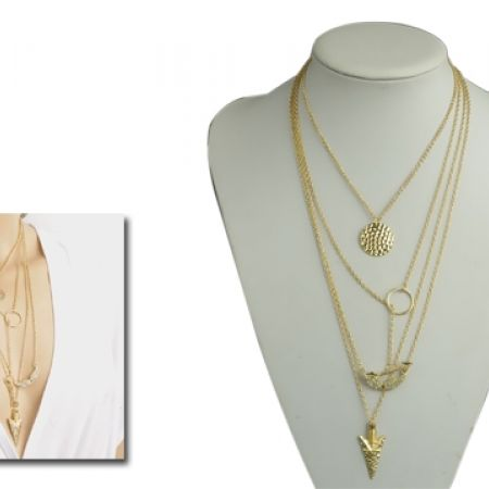 Multi-Layered Necklace With Angel Wings & Arrow For Women