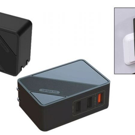 WK Design WP-U22 Black Portable Mobile Charger 3 USB Ports
