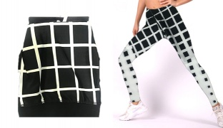 Lisyana Black White With Square Design Sport Fit Tight Legging For Women Size: XL