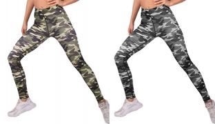 Lisyana Sport Fit Tight Legging For Women - Green Camouflage - Size: Small