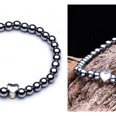 Power Hematite Stone Heart Bracelet For Women
