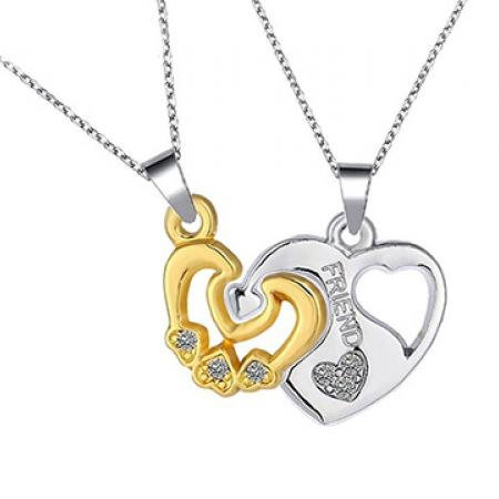 46dd37fc58f3 Set Of Stainless Steel 2-Part Pendant Heart In Heart Necklace For ...
