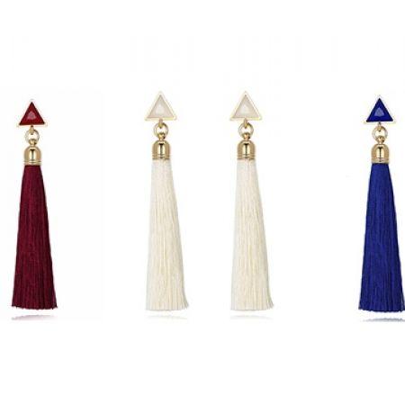 c16c2d3e0 Triangle Drop Long Tassel Earrings For Women - Blue - Makhsoom