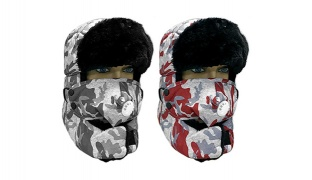 Unisex Camouflage Faux Fur Windproof Ski Trapper Cap - Red