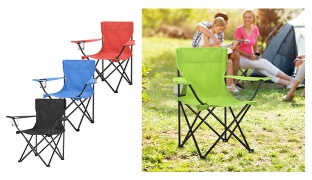 Portable Folding Camping Armchair With Carry Bag - Red