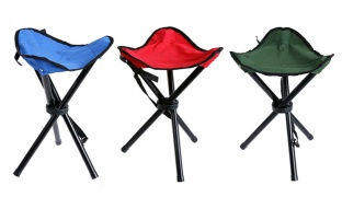 Tripod Portable Folding Camping Chair 40 x 29 cm - Red