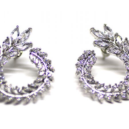 Silver Plated Cubic Zircona Spiral Leaves Earrings For Women