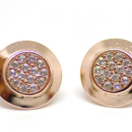Stering Silver Rose Gold Audrey Round Cubic Zircona Earrings For Women