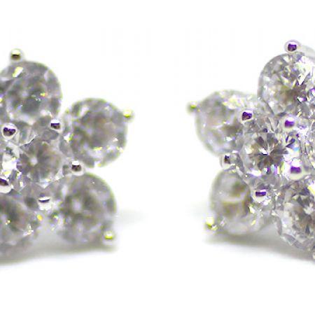 Silver Plated Cubic Zircona Roxana Flower Earrings For Women