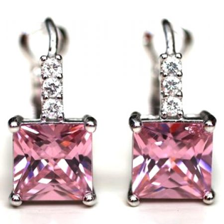 3266fa942 Silver Plated Harriet Pink Cubic Zircona Square Earrings For Women