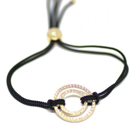 Copper Adjustable Black & Gold Irene Bracelet For Women