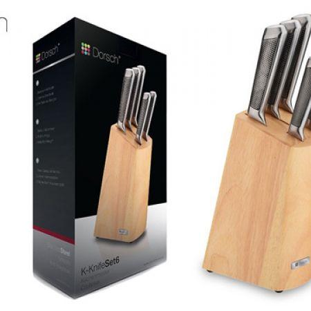 Dorsch Hollow Knife Set With Wooden Block 6 Pcs DH-04660
