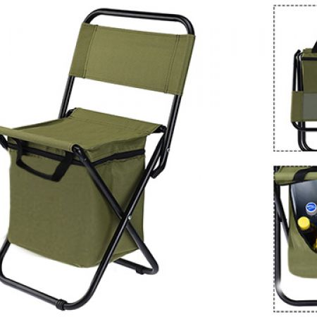 Foldable Portable Green Chair With Cooler & Thermal Bag