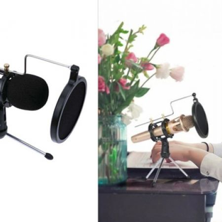 Desk Microphone Tripod Stand With Pop Filter