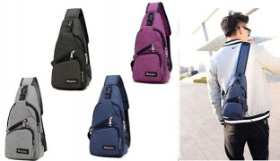 Portable Casual Canvas Chest & Shoulder Cross Bag With External USB Charging 32 x 16 cm - Grey