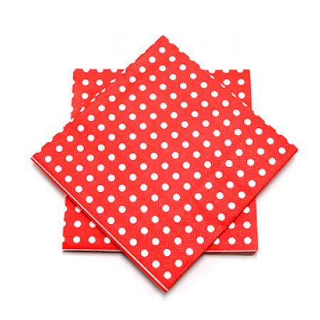 Set Of Red Dotted Napkins 20 Pcs
