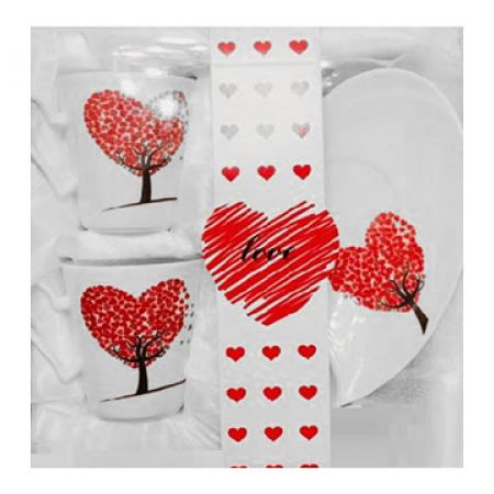 Valentine Coffee Set 2 Cups & 2 Dishes