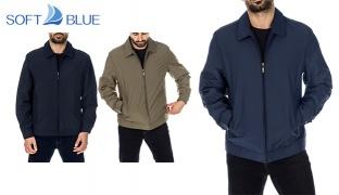 Soft Blue Windbreaker With a Zip Closure Jacket For Men - Khaki- Medium