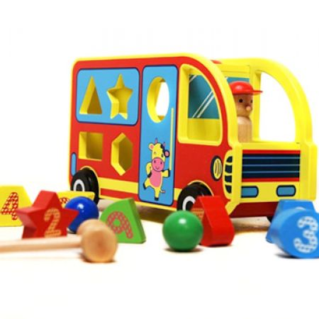 Wooden Toy Bus Educational Sorting Toy