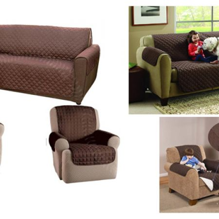 Set Of Single Reversible Chocolate Brown Couch Coat Stain Blocking 3 Pcs